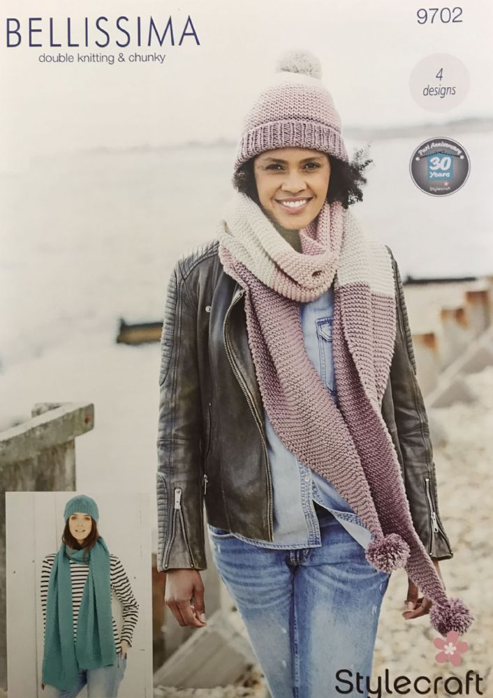 SCP Bellissima DK and Chunky Pattern 9702 Hats and Scarves